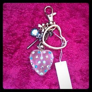 Betsey Johnson Rhinestone Heart Keychain sample